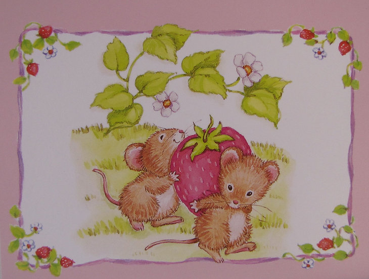 Strawberry Mice Card