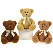 "9"" Sitting Bears With Ribbon"