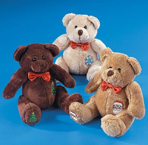 Holiday Patchwork Stuffed Bears