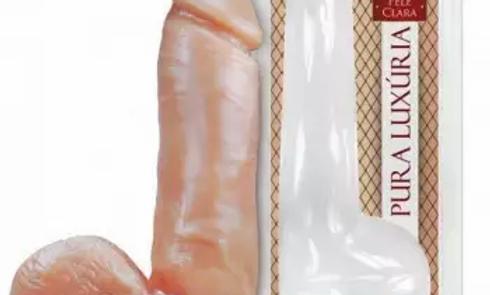 Vibrador Pênis de Borracha com Escroto