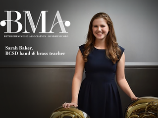 BMA's Music Teacher of the Month is Sarah Baker.