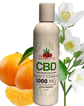 Fast Acting 1000MG CBD Pain Lotion 4oz Jasmine Clementine Strawberry Fields