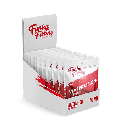 Watermelon Gummies 5 Pack (50mg) 10 Count Display Funky Farms
