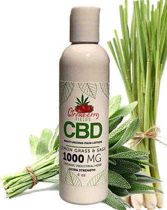 Fast Acting 1000MG CBD Pain Lotion 4oz Lemongrass Sage Strawberry Fields