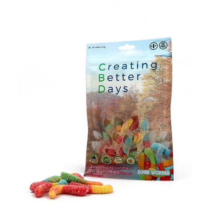 300MG Sour Gummy Worms (20 Pieces) Creating Better Days