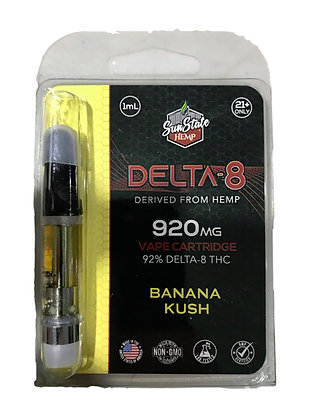 Banana Kush Delta-8 from Hemp 920mg Vape Cartridge 1ML Sunstate Hemp