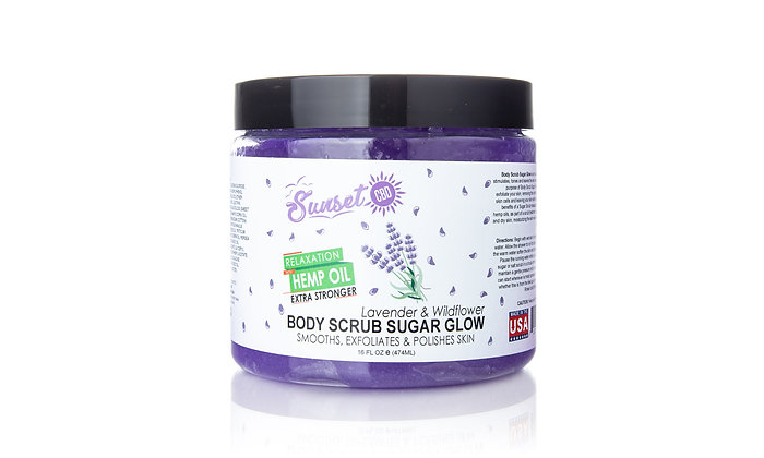 Lavender & Wildflower CBD Body Scrub Salt Glow Sunset