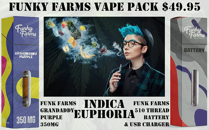 Vape Pack Grandaddy Purple 350MG & 510 Funky Farms Battery Set