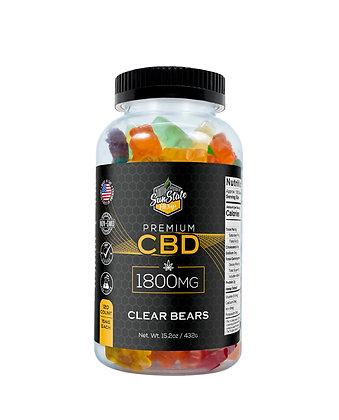 CBD Gummy Clear Bears 120pcs 1800mg Sunstate Hemp