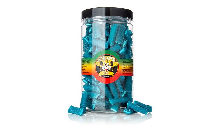 2000MG CBD INFUSED Blue Raspberry Filled Gummy Tubes Kangaroo