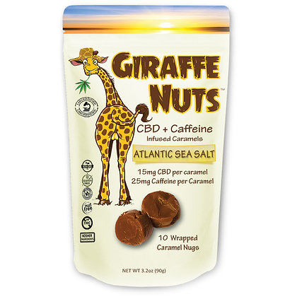 Giraffe Nuts + Caffeine | Atlantic Sea Salt | 15mg Hemp CBD per piece + 25mg Caf