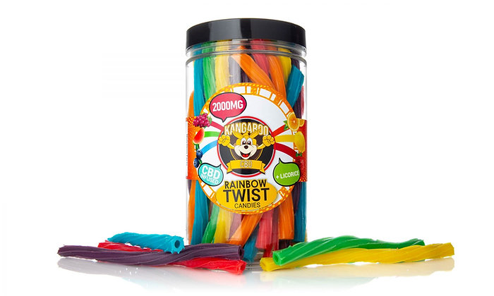 2000MG CBD Infused Rainbow Twist Candy Kangaroo