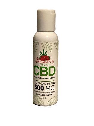 Fast Acting 500MG CBD Pain Lotion 2oz Tropical Eucalyptus Strawberry Fields