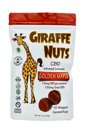 Giraffe Nuts Infused Caramels | Golden Maple | 15mg Hemp CBD per pc - 10 Count