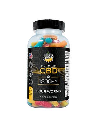 CBD Gummy Sour Worms 90pcs 1800mg Sunstate Hemp