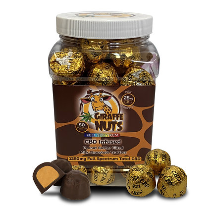 Milk Chocolate Peanut Butter Truffles - 25mg Full Spec 50 Ball Jar Giraffe Nuts