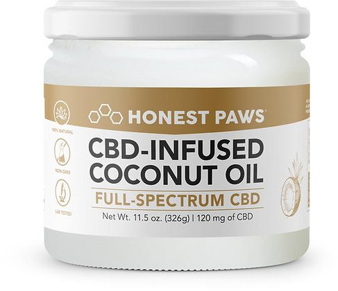 Coconut Oil For Dogs Infused with CBD 120MG Honest Paws