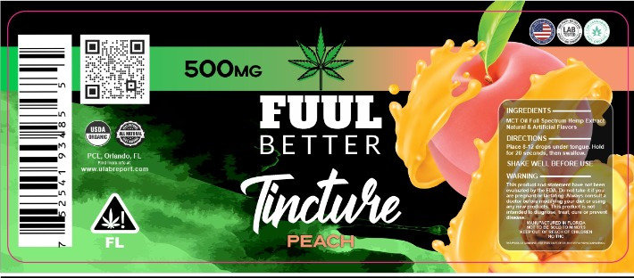 500MG Peach Delta-8 Oil Tincture FUUL BETTER