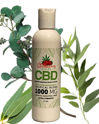 Fast Acting 1000MG CBD Pain Lotion 4oz Tropical Eucalyptus Strawberry Fields