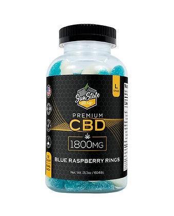 CBD Gummy Blue Raspberry Rings 72pcs 1800mg Sunstate Hemp