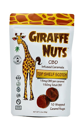 Giraffe Nuts Infused Caramels | Top Shelf Scotch | 15mg Hemp CBD per pc - 10CT