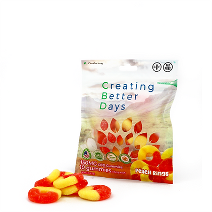 150MG Peach Rings (10 Pieces) Creating Better Days