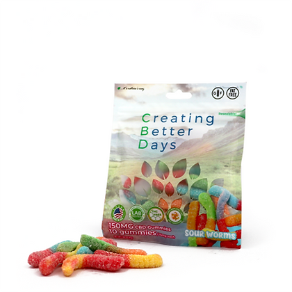 150MG Sour Gummy Worms (10 Pieces) Creating Better Days
