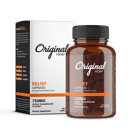 Relief Capsules (750mg) | Full Spectrum Hemp Extract Original Hemp