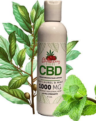 Fast Acting 1000MG CBD Pain Lotion 4oz Bay Laurel Strawberry Fields