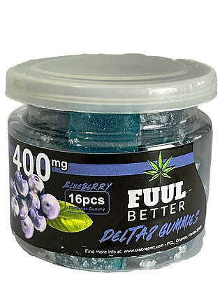 Delta-8 400MG Blueberry 16pc 25MG EA FUUL BETTER