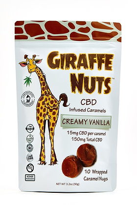 Giraffe Nuts Infused Caramels | Creamy Vanilla | 15mg Hemp CBD per pc 10CT