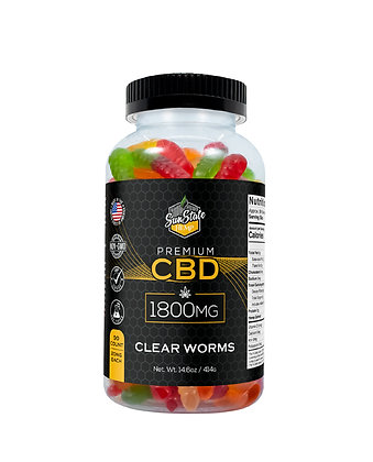 CBD Gummy Clear Worms 90pcs 1800mg Sunstate Hemp