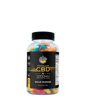 CBD Gummy Sour Worms 60pcs 1200mg Sunstate Hemp