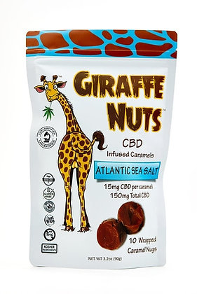 Giraffe Nuts Infused Caramels | Atlantic Sea Salt | 15mg Hemp CBD per pc 10CT