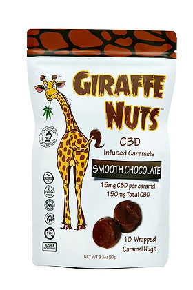 Giraffe Nuts Infused Caramels | Smooth Chocolate | 15mg Hemp CBD per pc 10CT
