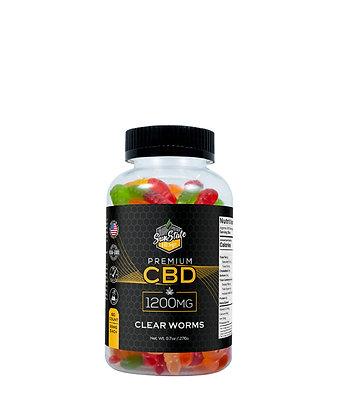 CBD Gummy Clear Worms 60pcs 1200mg Sunstate Hemp