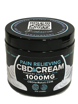 Fast Acting Pain Cream 1000MG CBD 4oz Strawberry Fields