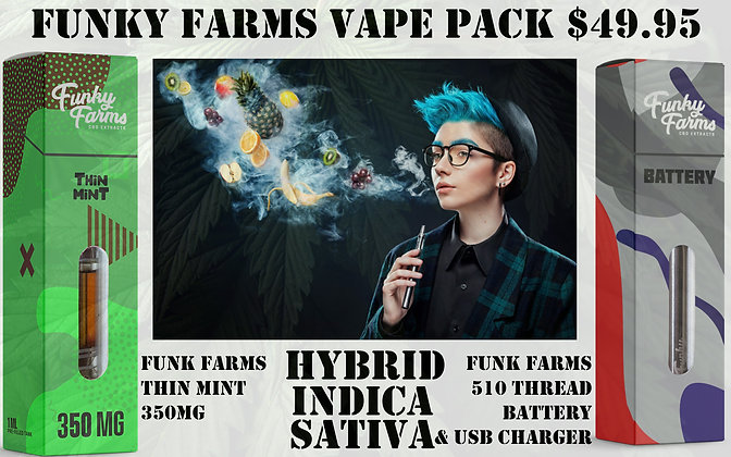 Vape Pack Thin Mint 350MG & 510 Funky Farms Battery Set