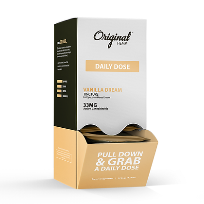 Vanilla Dream Tincture (33mg) Daily Dose 30 BAG DISPLAY Original Hemp