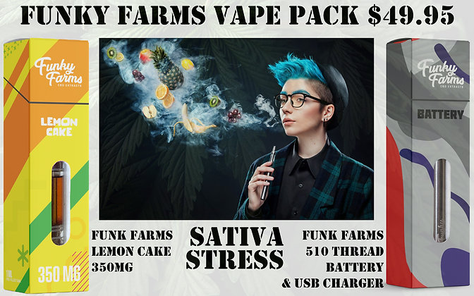 Vape Pack Lemon Cake 350MG & 510 Funky Farms Battery Set