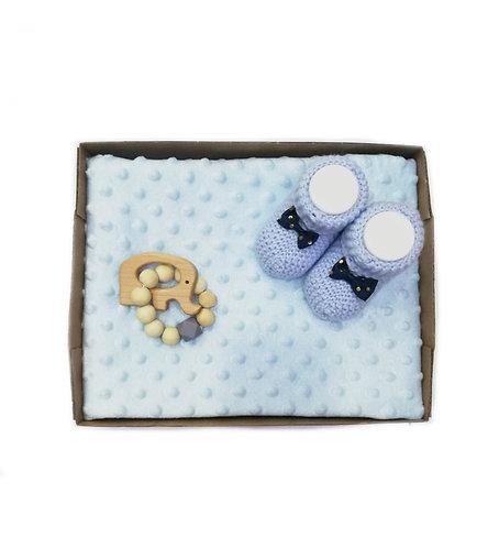 Boncuğum Bebek Battaniye Hediye Seti Mavi