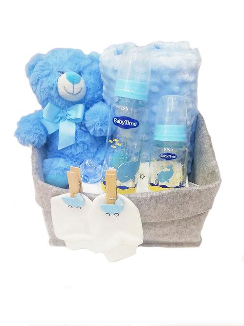 Cam Biberonlu Bebek Hediye Sepeti Mavi
