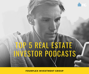 Man listening to real estate podcast