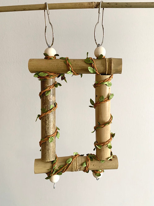 Hanging Bamboo Perch with natural twine