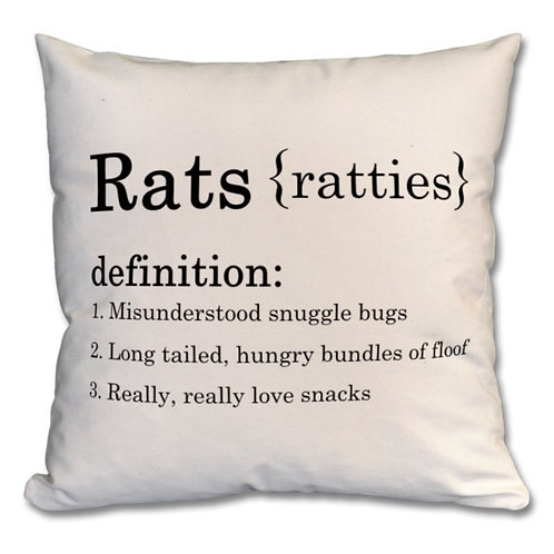 Premium 100% Cotton - 'Rats' Cushion, Natural