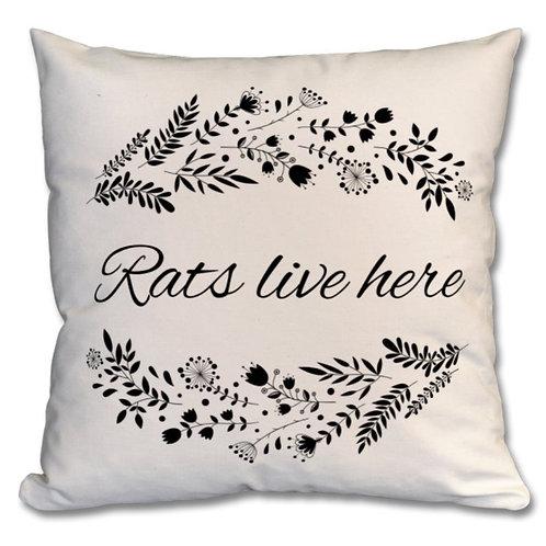Premium 100% Cotton, Rats live here - Cushion, Natural