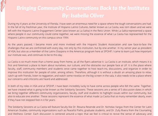 Solidarity Sessions: Bringing Community Conversations Back to the Institutes