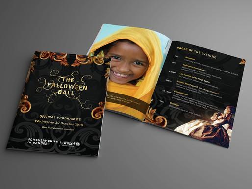 UNICEF Halloween Ball Programme designed by Landmark