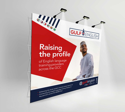Gulf English Fabric Banner Stands