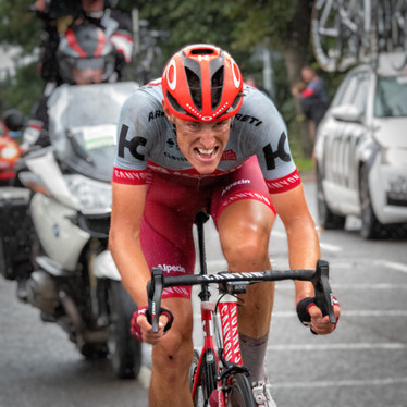 Nils Politt nearing the end of stage 7 of the Tour of Britain 2018.